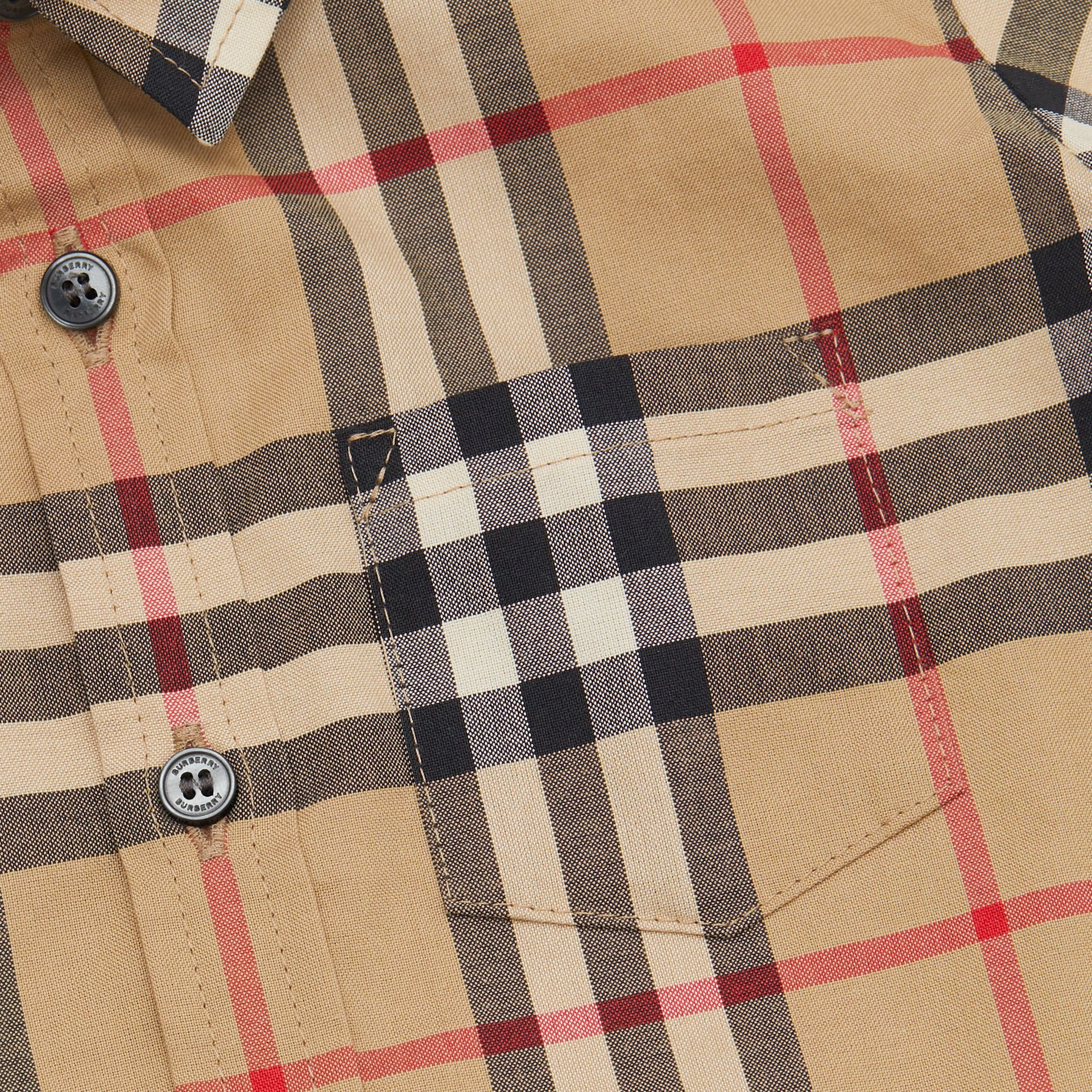 Short-sleeve Vintage Check Cotton Shirt in Archive Beige - Children | Burberry - gallery image 1