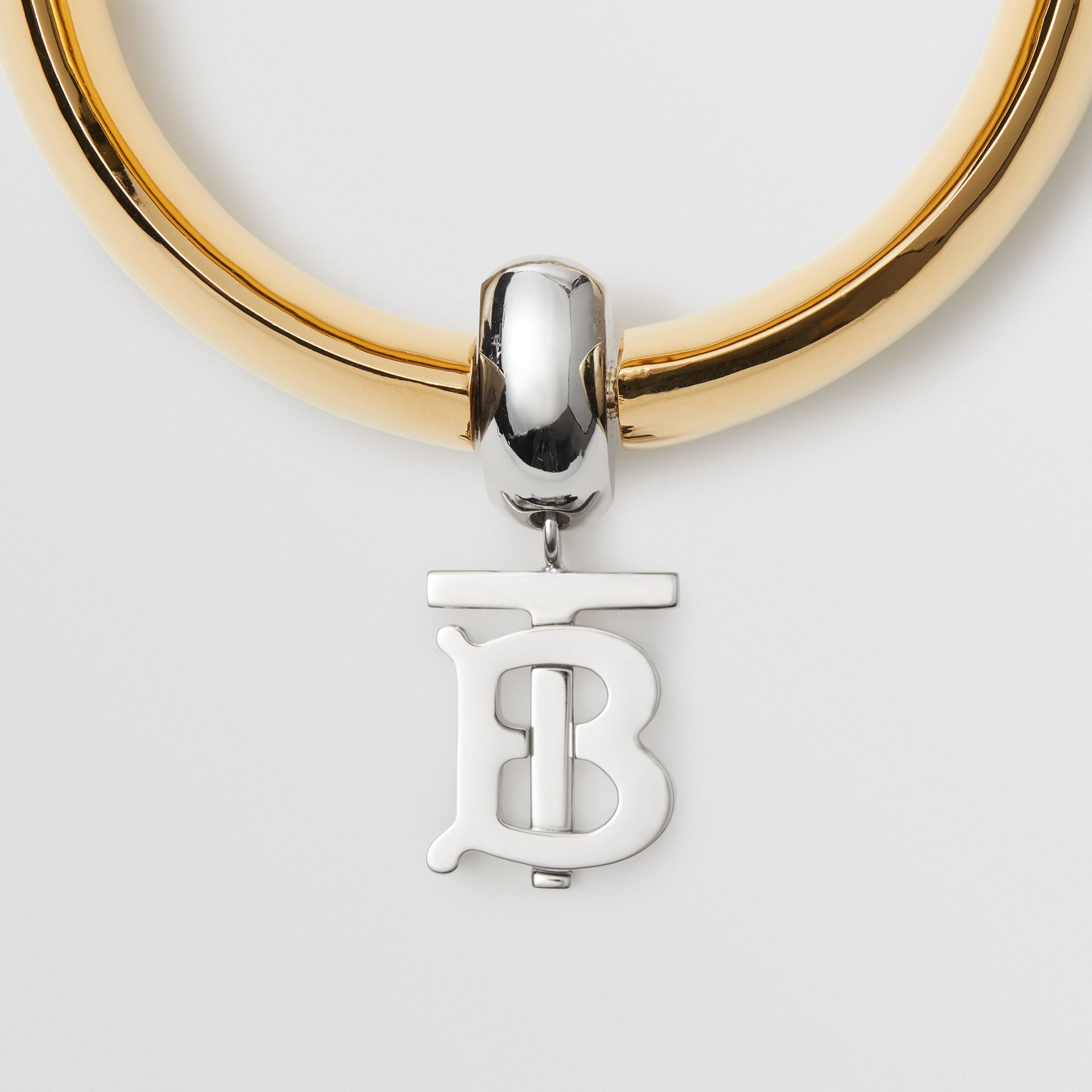Gold-plated Monogram Motif Bangle in Light - Women | Burberry United Kingdom - gallery image 1