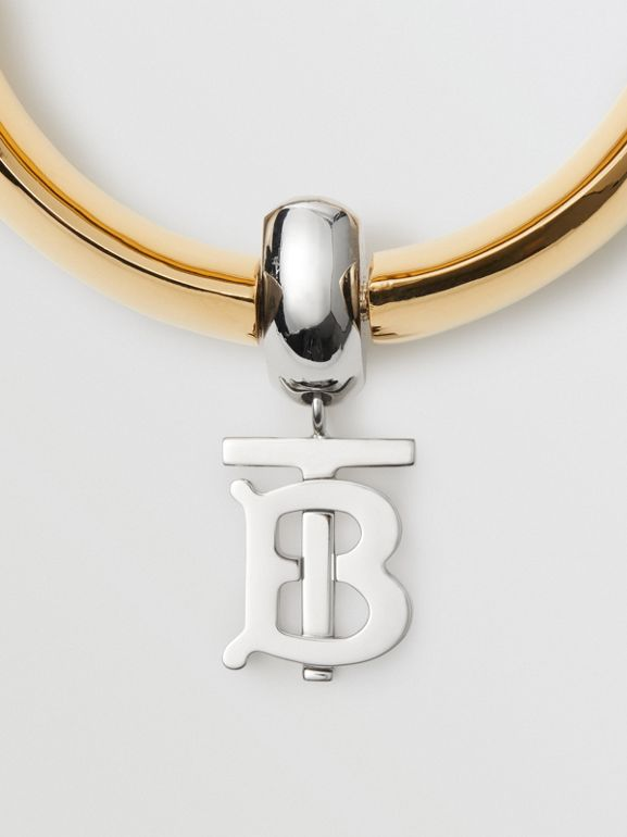Gold-plated Monogram Motif Bangle in Light - Women | Burberry - cell image 1