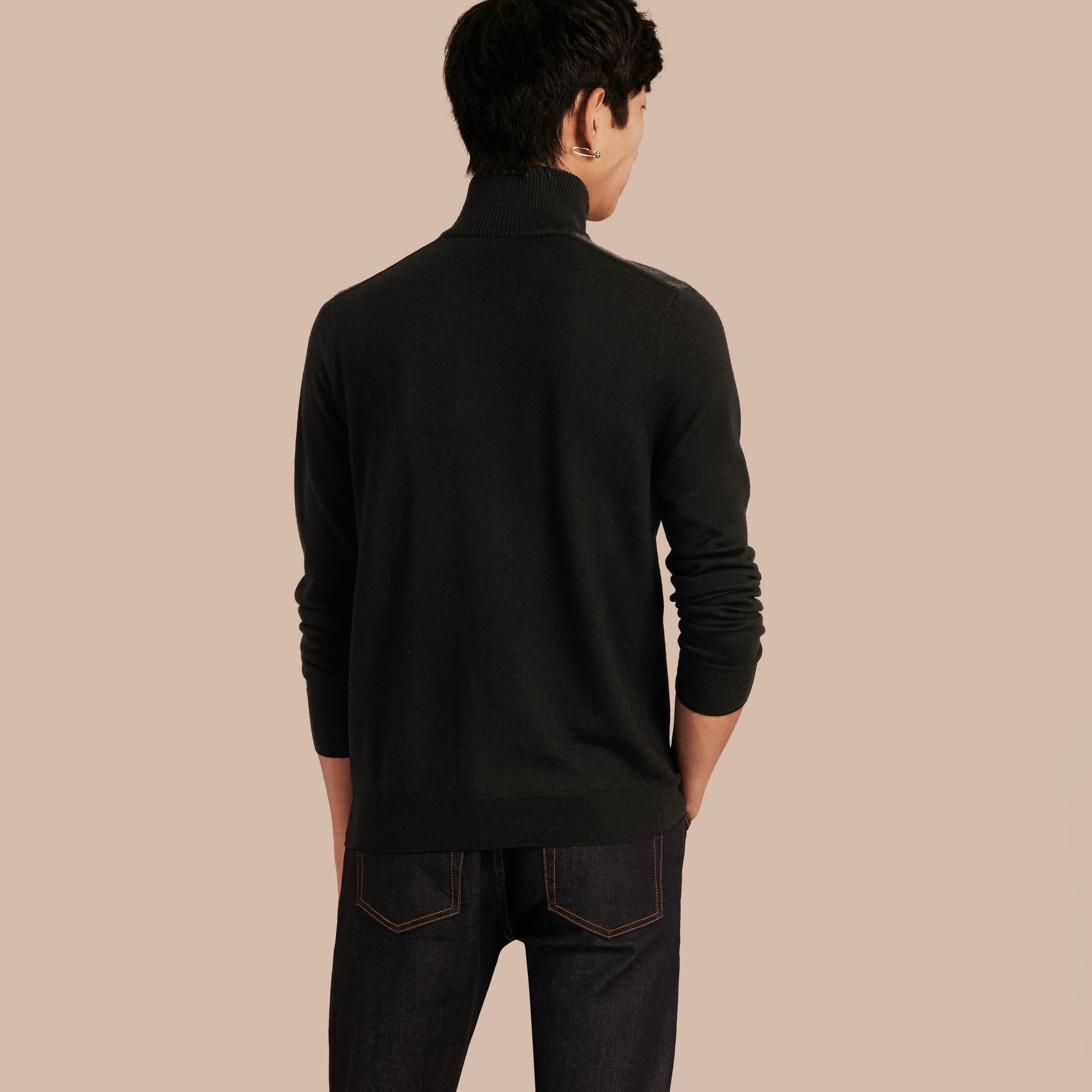 Black Zip-collar Merino Wool Sweater Black - gallery image 3