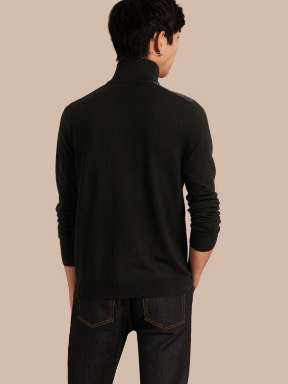 Black Zip-collar Merino Wool Sweater Black - cell image 2