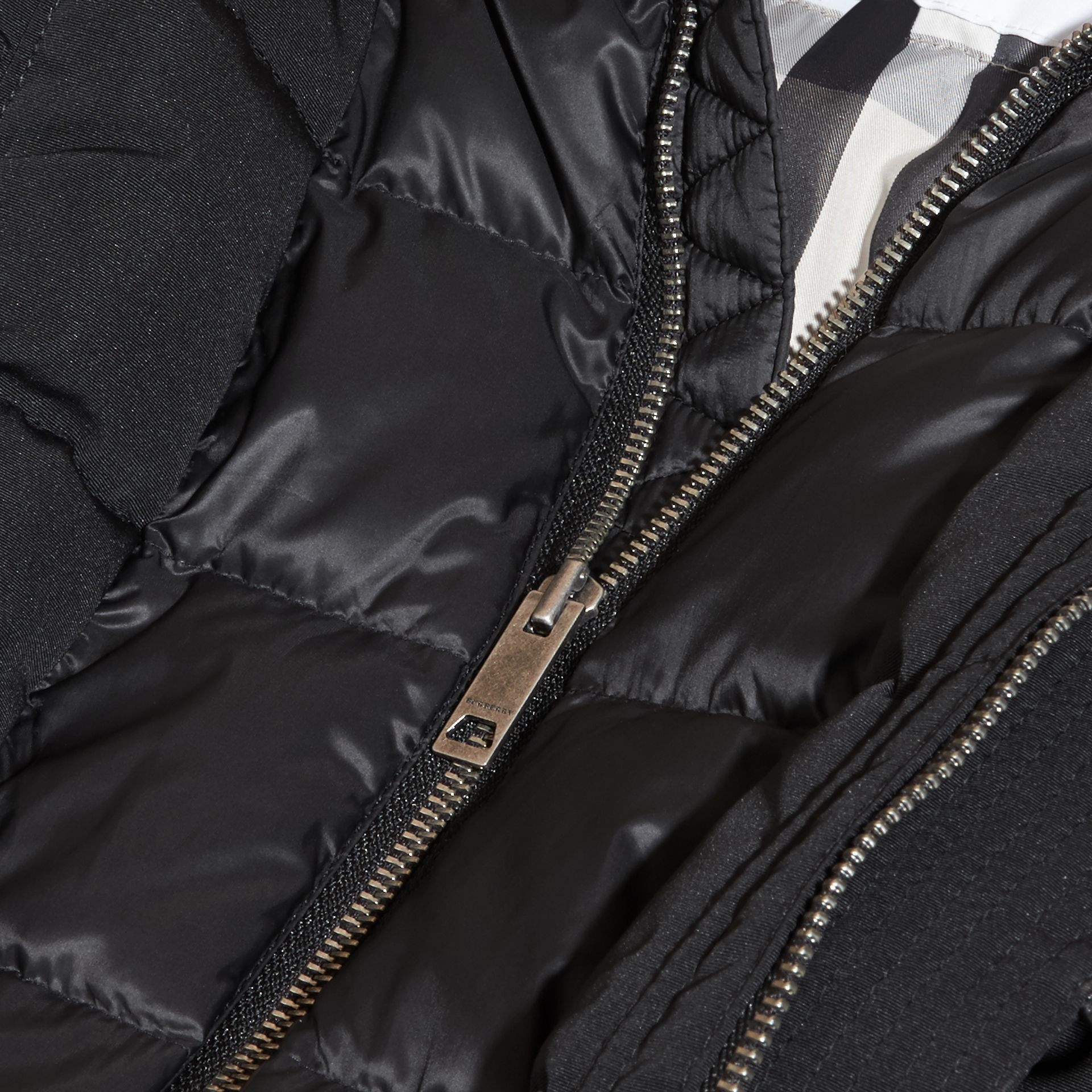 Fur-Trimmed Down-Filled Hooded Puffer Coat in Black - Boy | Burberry - gallery image 2