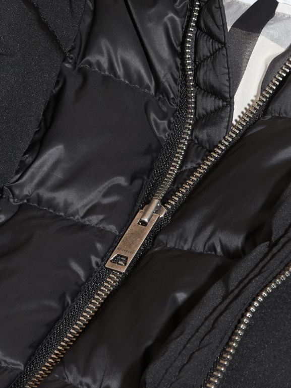 Fur-Trimmed Down-Filled Hooded Puffer Coat in Black | Burberry - cell image 1