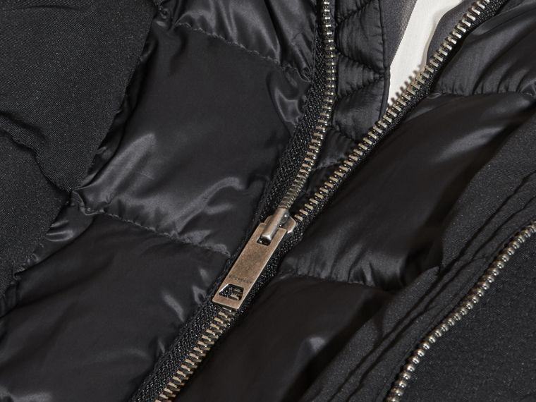 Fur-Trimmed Down-Filled Hooded Puffer Coat in Black - Boy | Burberry Singapore - cell image 1
