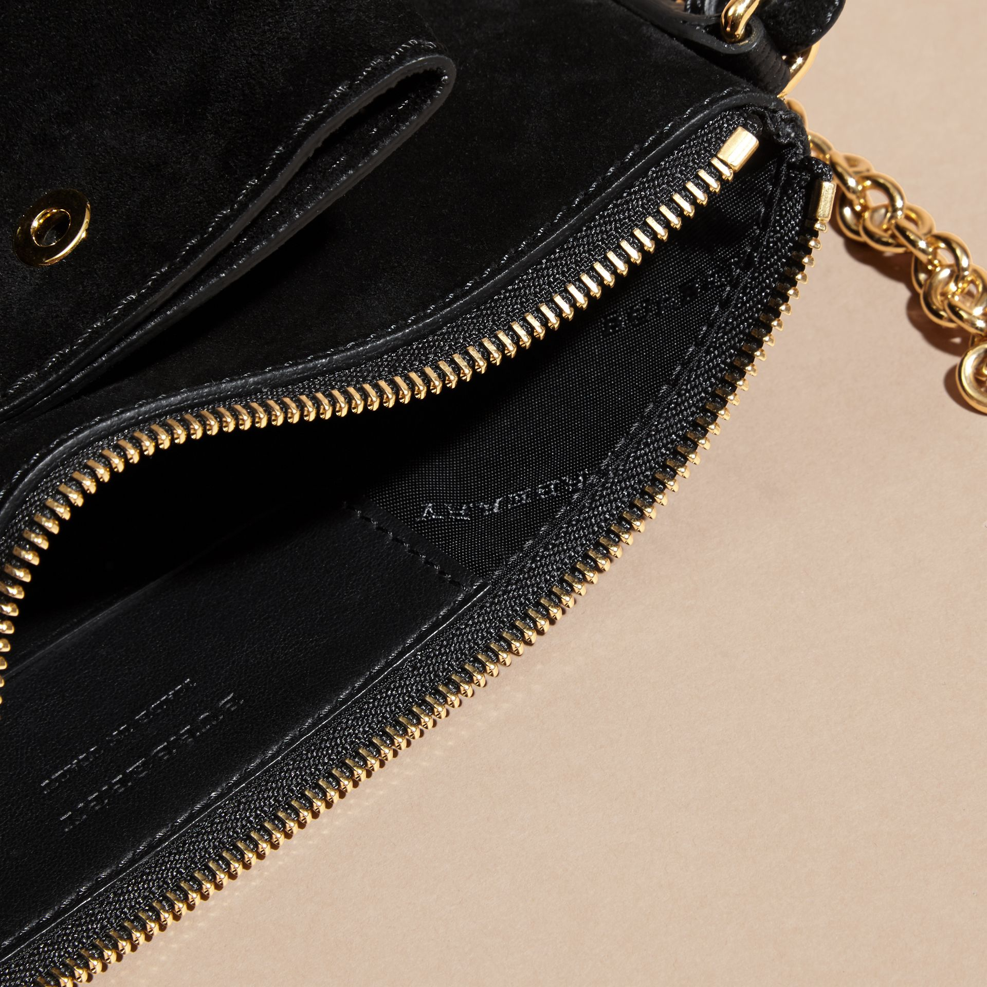 Black Suede Clutch Bag with Buckled Bow Detail - gallery image 6