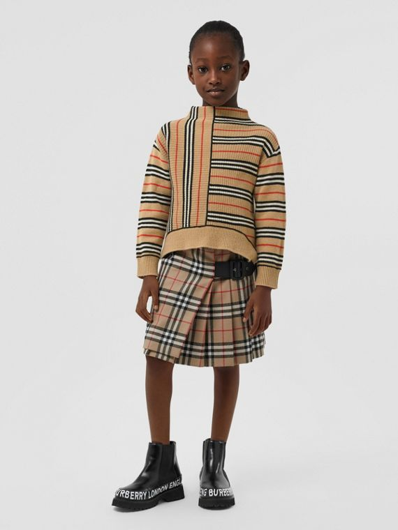 Pullover aus Kaschmir und Wolle mit Streifenmuster in kontrastierender Optik (Vintage-beige)