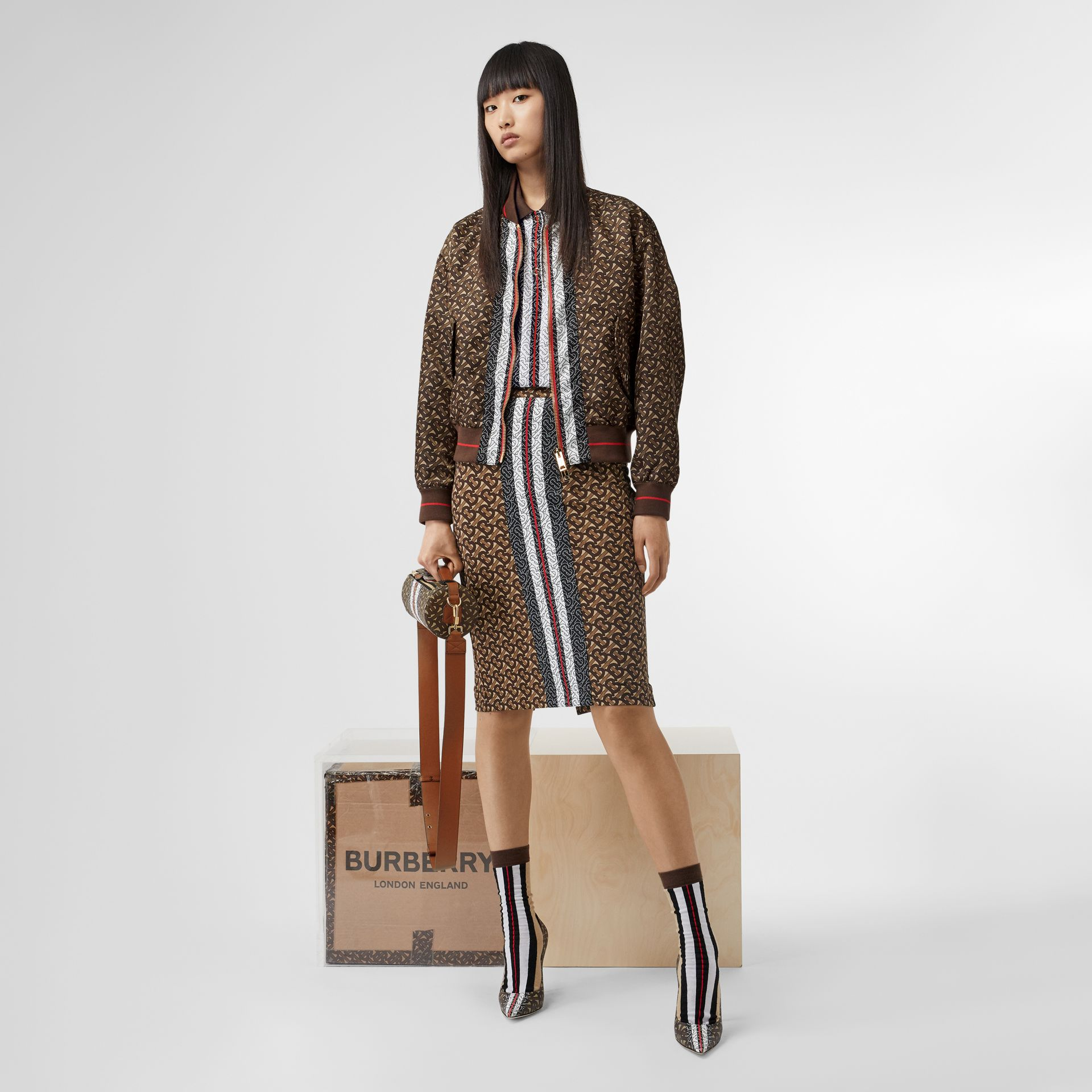 Monogram Stripe Print Nylon Bomber Jacket in Bridle Brown - Women | Burberry - gallery image 7