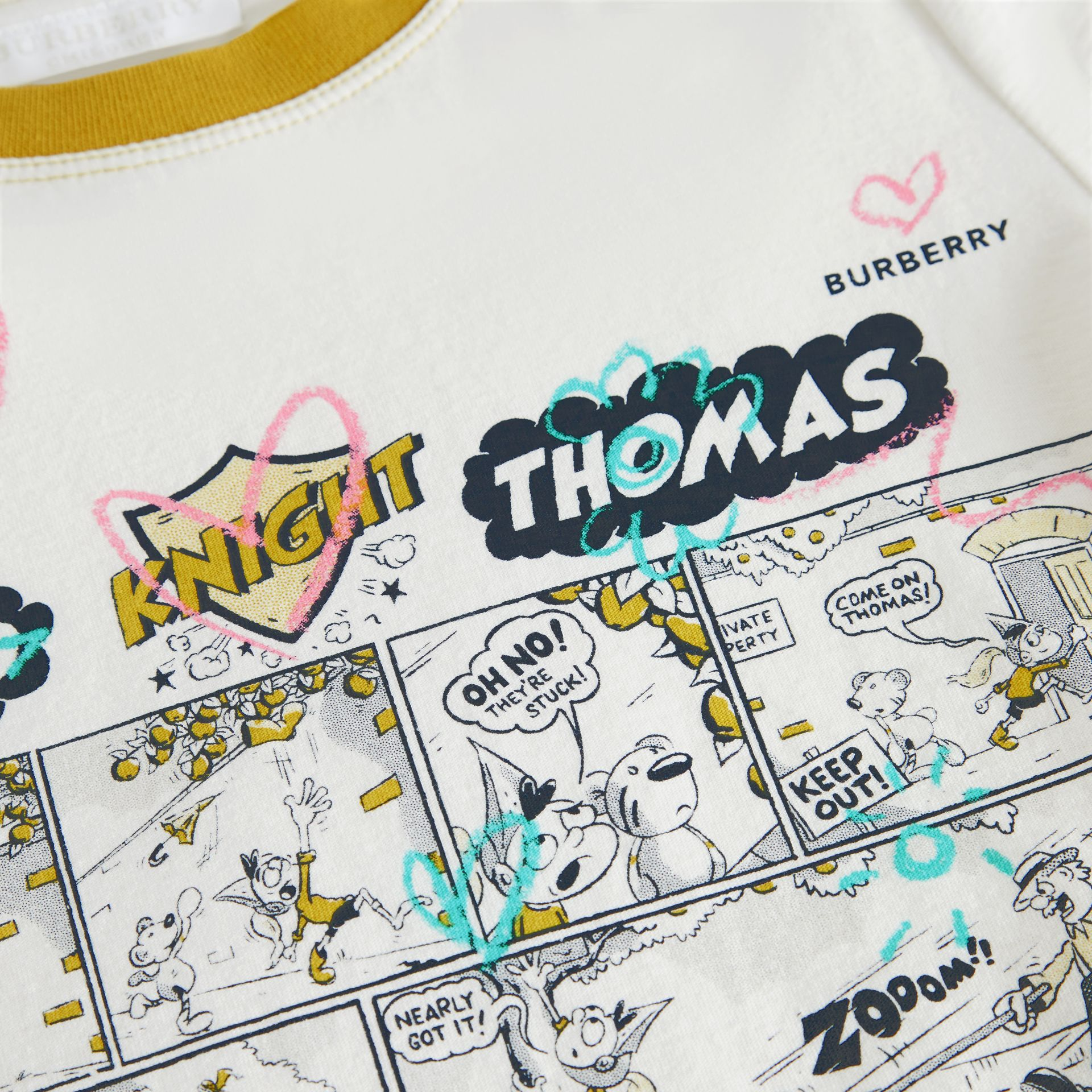 Comic Strip Print Cotton T-shirt in Light Stone | Burberry - gallery image 1