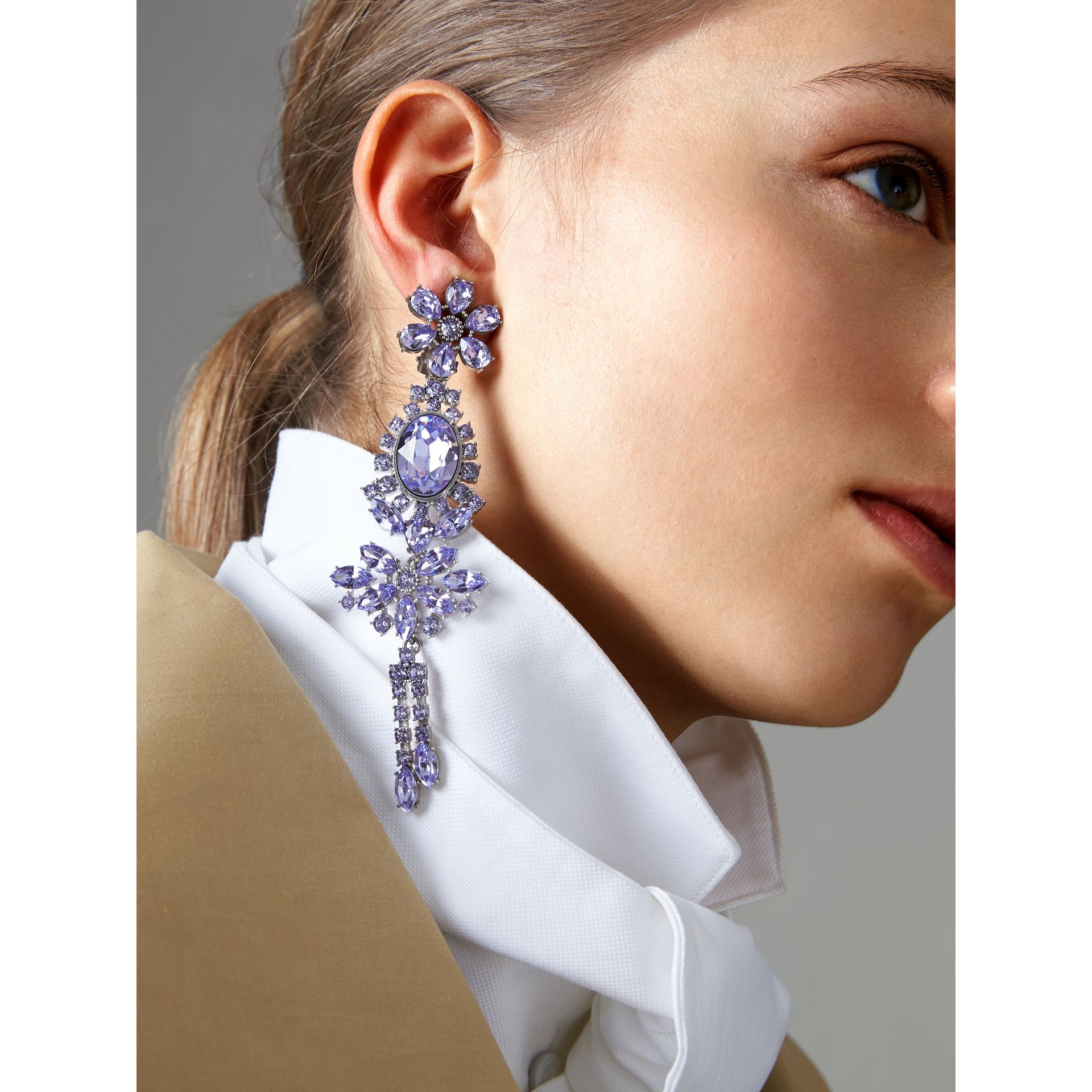Crystal Drop Earring and Stud Set in Lavender Blue - Women | Burberry - gallery image 2