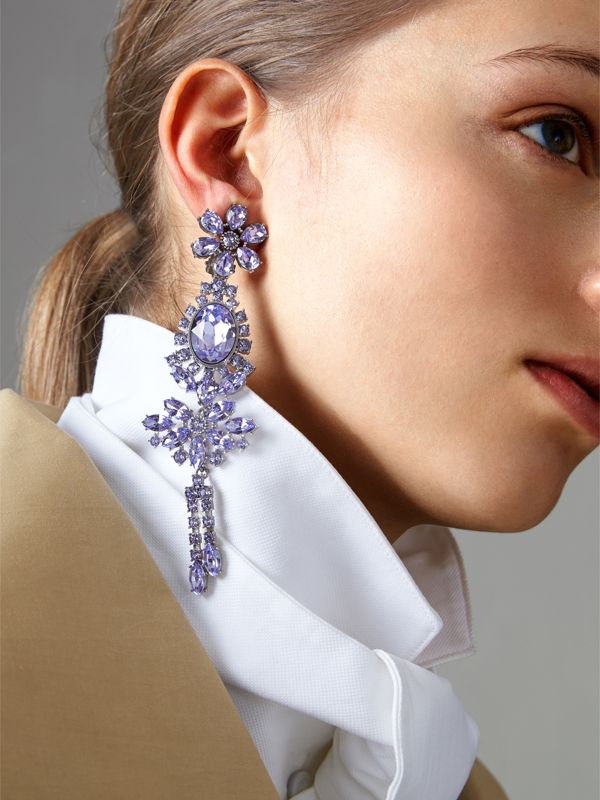 Crystal Drop Earring and Stud Set in Lavender Blue - Women | Burberry - cell image 2