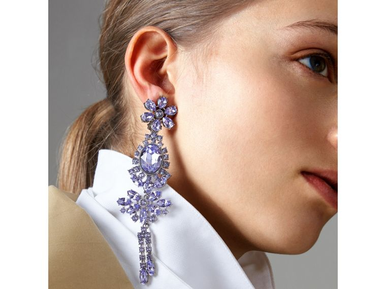 Crystal Drop Earring and Stud Set in Lavender Blue - Women | Burberry United Kingdom - cell image 2