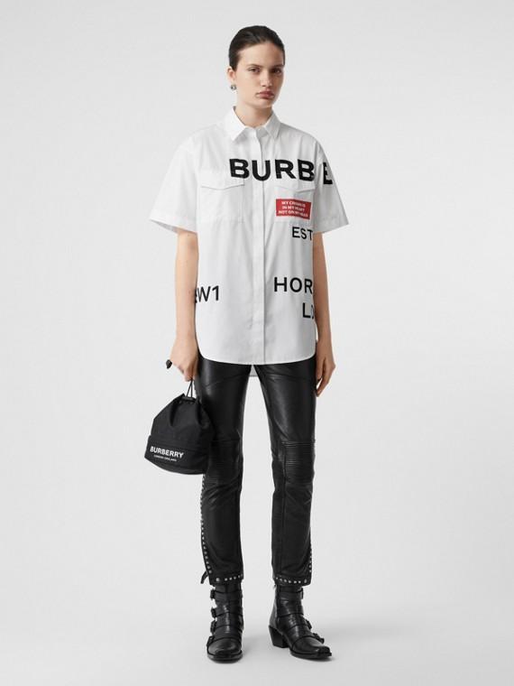 Camisa oversize de mangas curtas em algodão com estampa Horseferry (Branco)