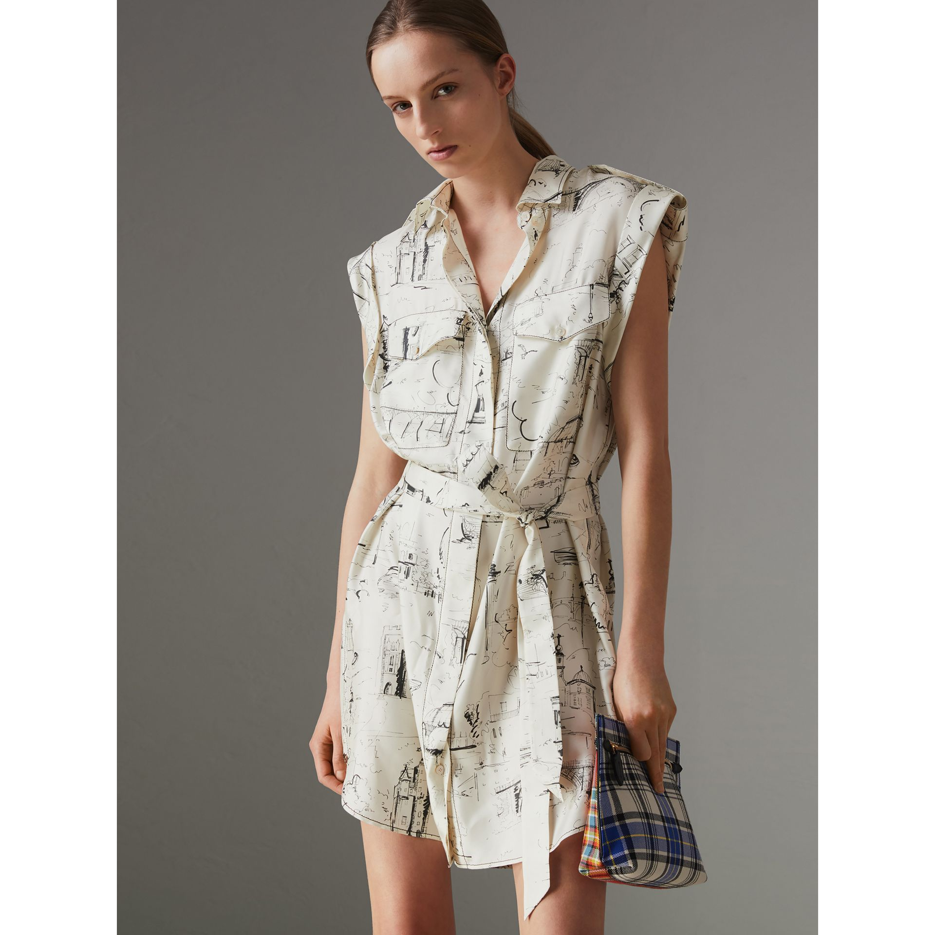 Landmark Print Silk Shirt Dress in Off White/ Black - Women | Burberry - gallery image 0
