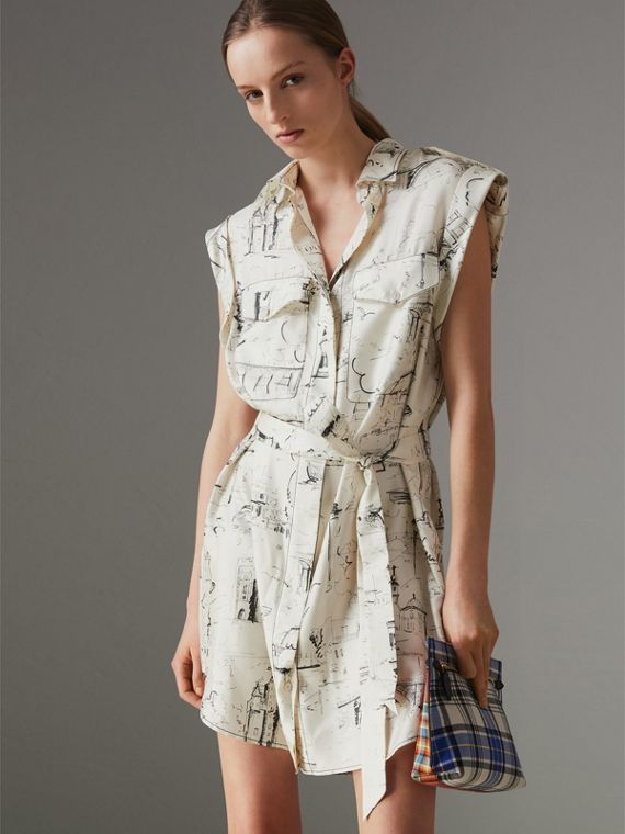 Landmark Print Silk Shirt Dress in Off White/ Black