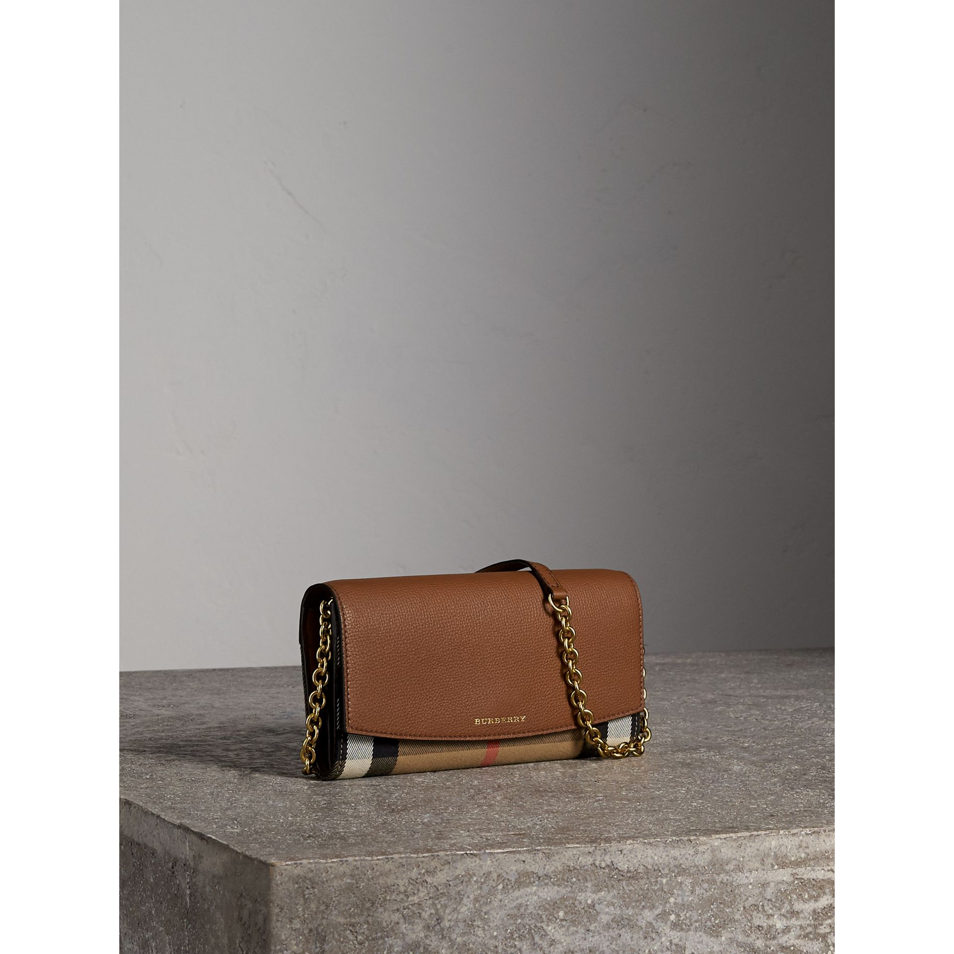 House Check and Leather Wallet with Chain in Tan - Women | Burberry Singapore - gallery image 7