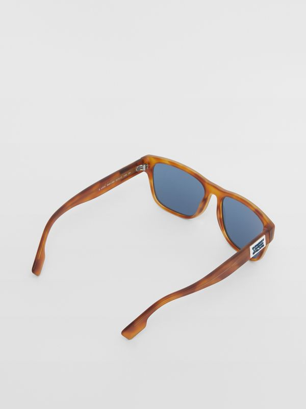 Logo Appliqué Square Frame Sunglasses in Tortoise Amber - Men | Burberry - cell image 3