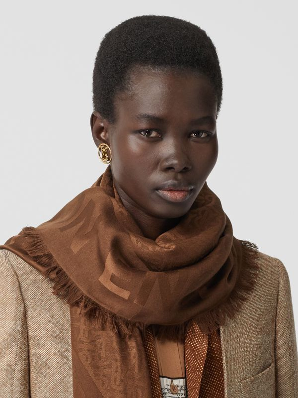 Monogram Silk Wool Jacquard Large Square Scarf in Dark Chestnut Brown | Burberry - cell image 2