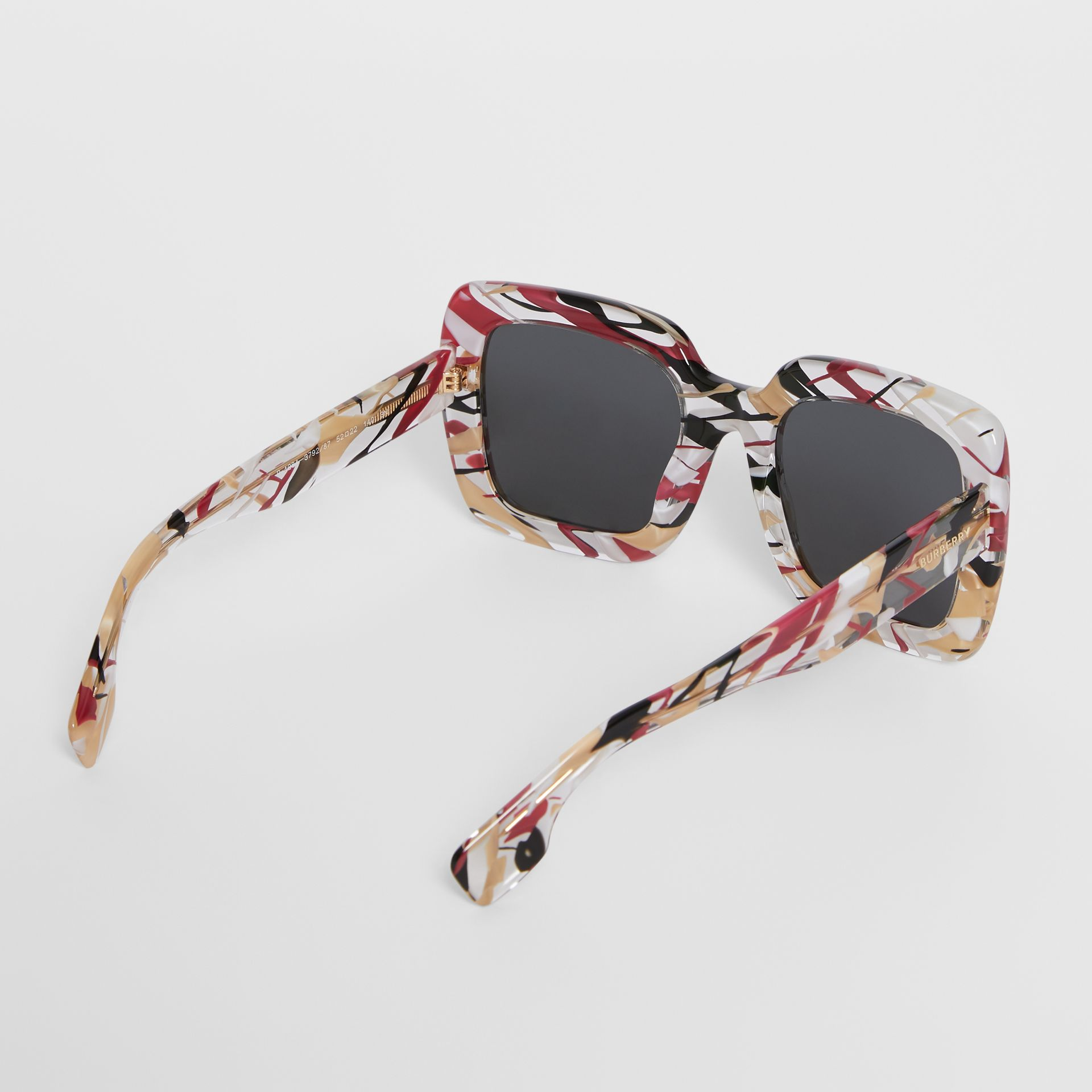 Marbled Check Oversized Square Frame Sunglasses in Lacquer Red - Women | Burberry United Kingdom - gallery image 4