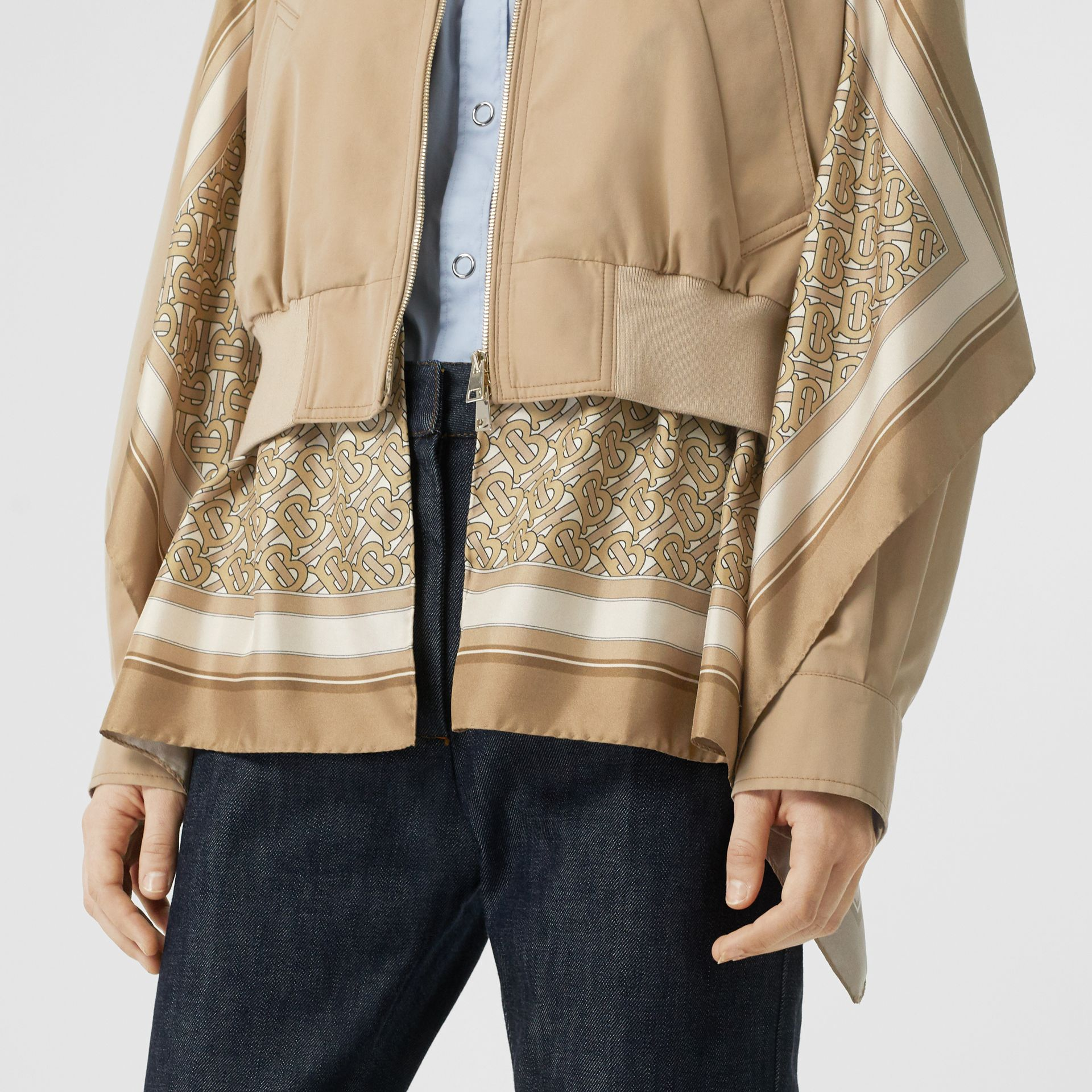 Monogram Print Silk Detail Cotton Gabardine Jacket in Pale Honey - Women | Burberry - gallery image 1