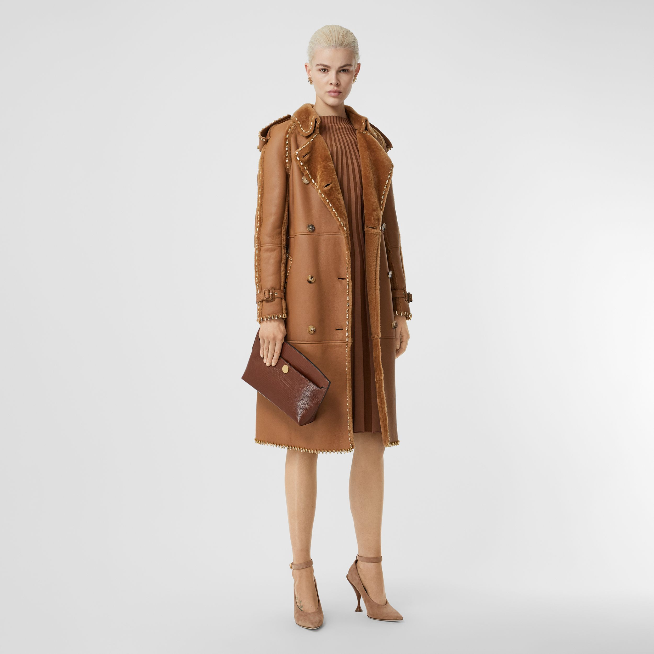 Embellished Shearling Trench Coat in Warm Camel - Women | Burberry Australia - 1
