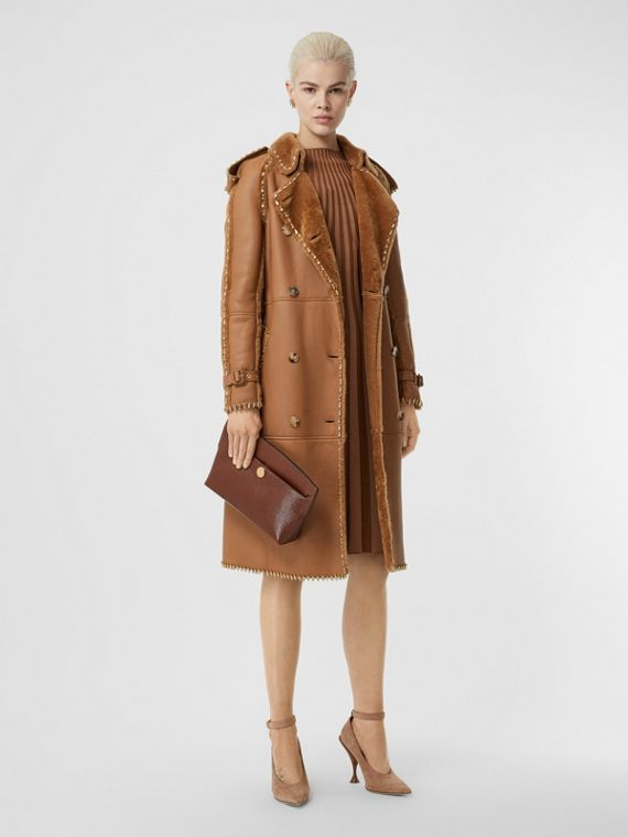 Embellished Shearling Trench Coat in Warm Camel