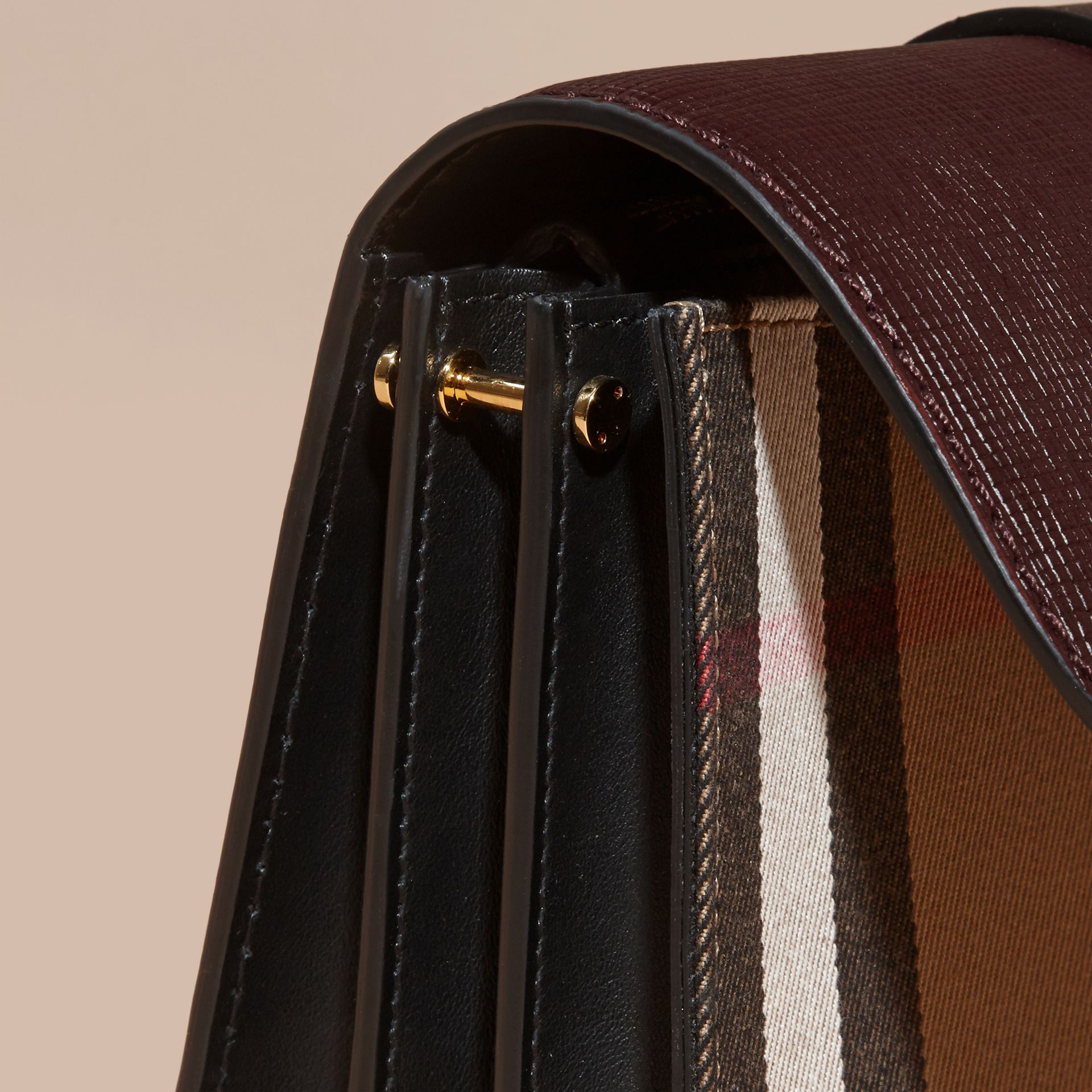 The Medium Buckle Bag in House Check and Textured Leather in Burgundy/black - gallery image 7