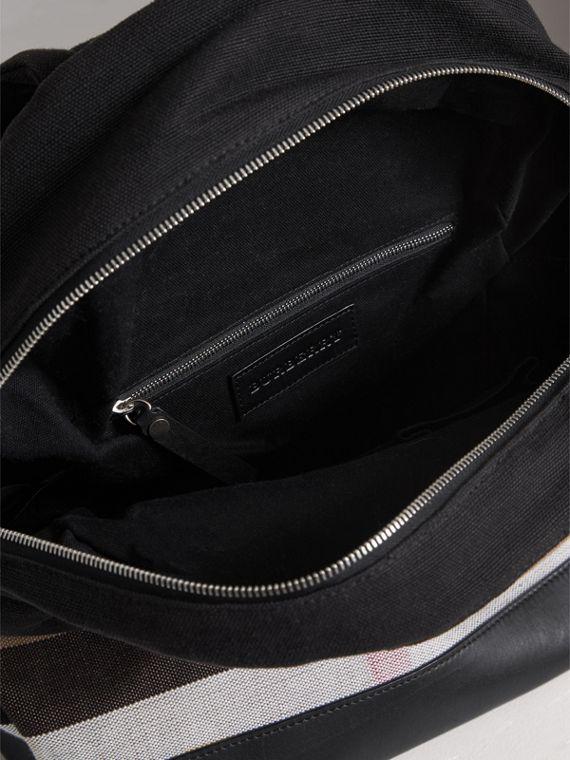 Canvas Check and Leather Backpack in Black | Burberry - cell image 3