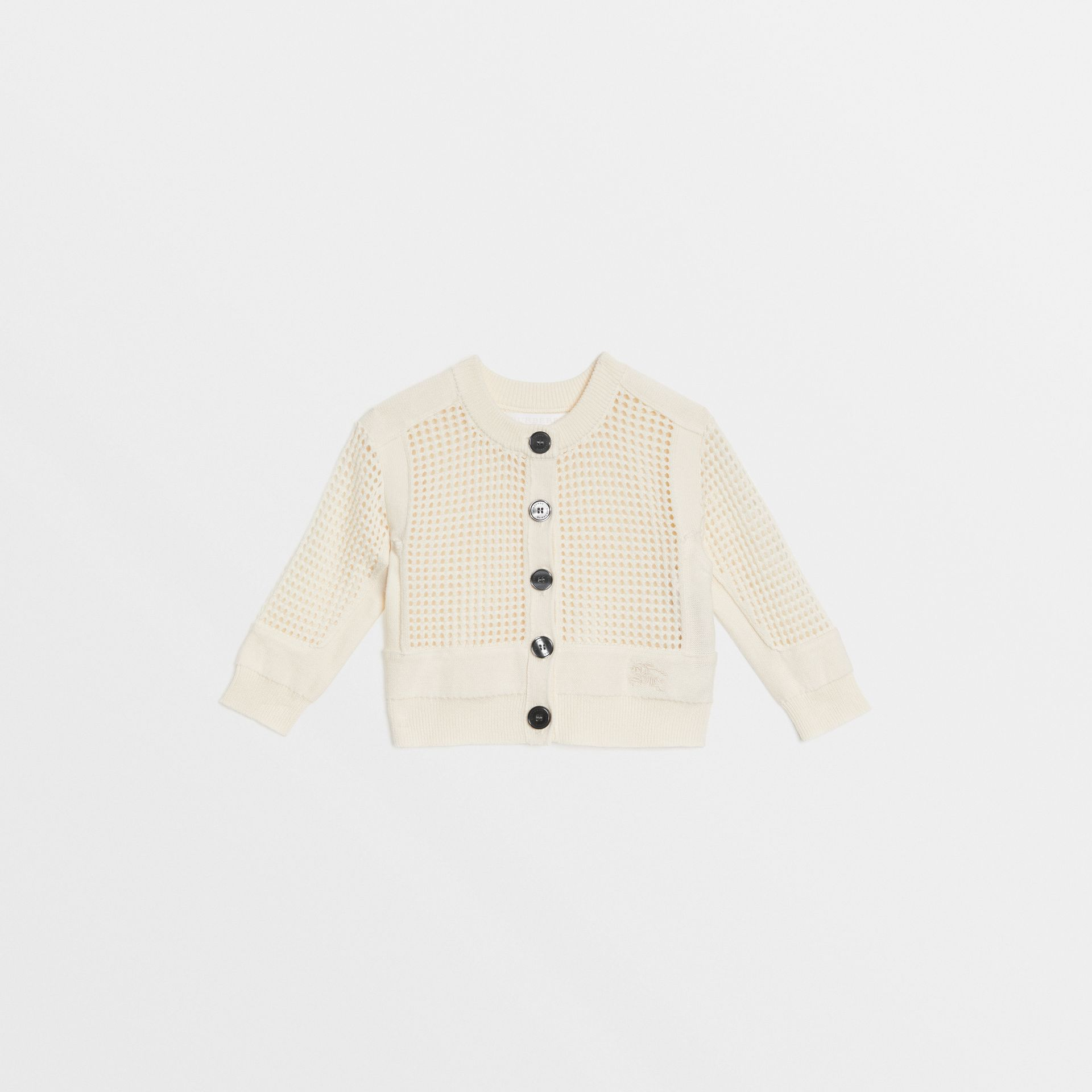 Open Knit Cotton Crew Neck Cardigan in Ivory - Children | Burberry United States - gallery image 0
