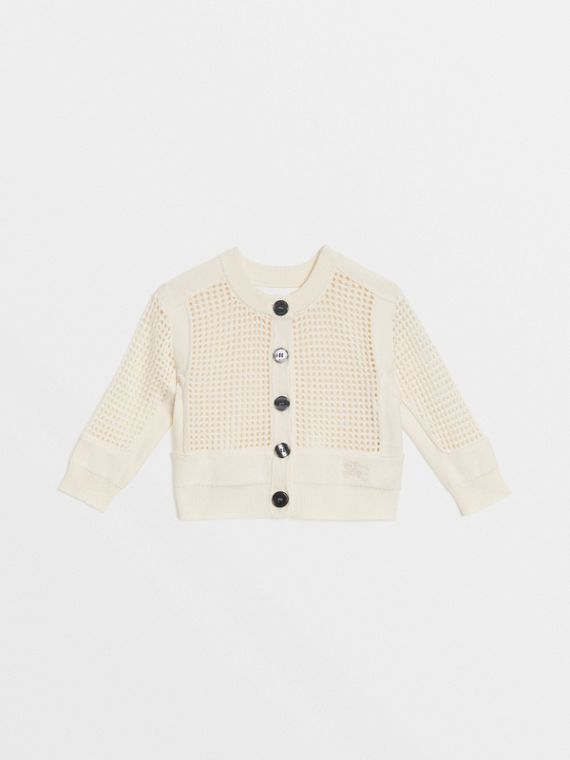 Open Knit Cotton Crew Neck Cardigan in Ivory