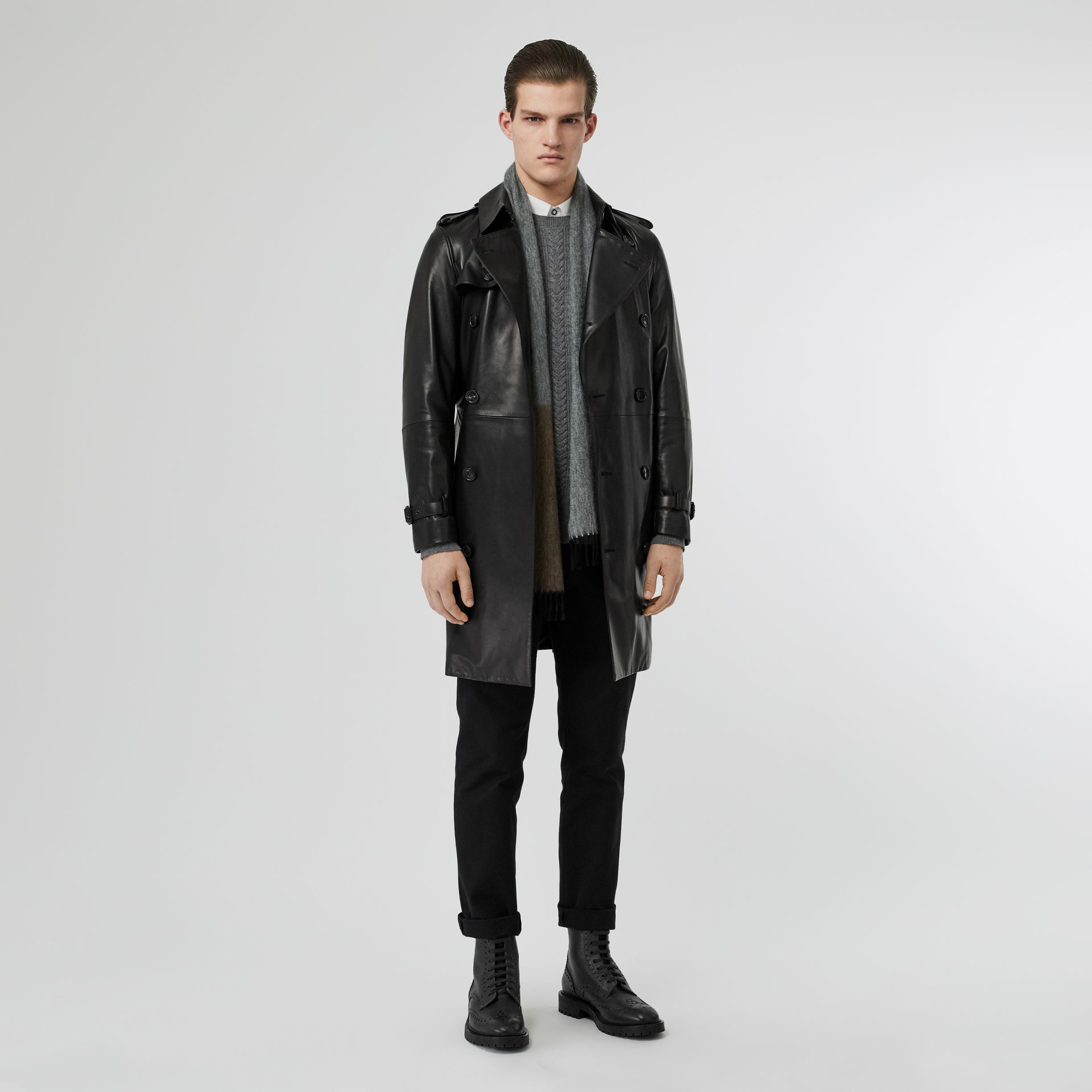 Lambskin Trench Coat in Black - Men | Burberry Singapore - gallery image 0