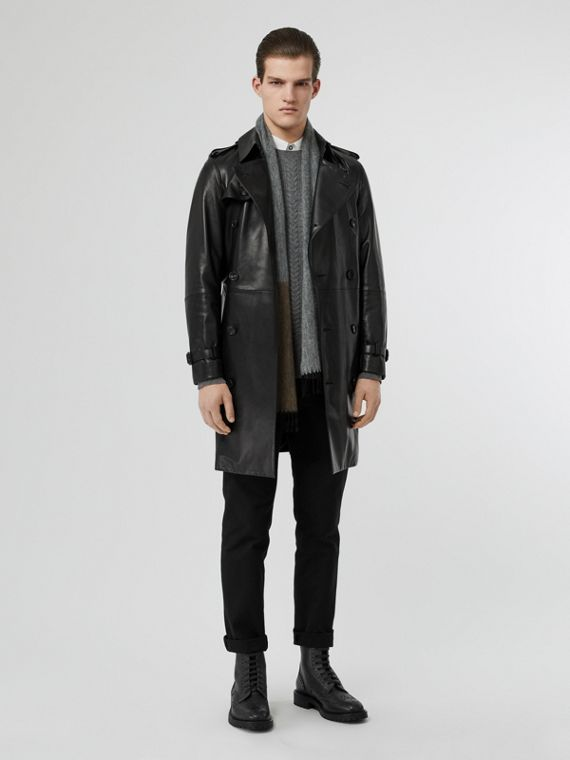 Lambskin Trench Coat in Black