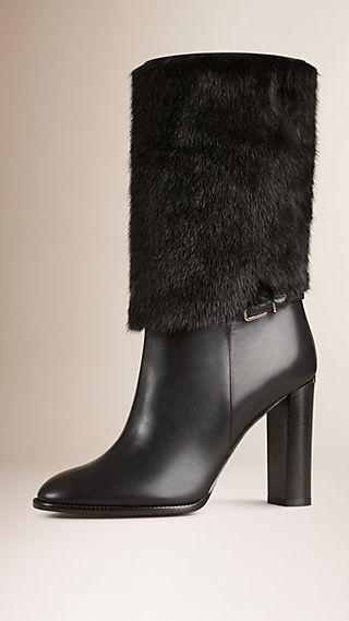 Mink Fur and Leather Boots