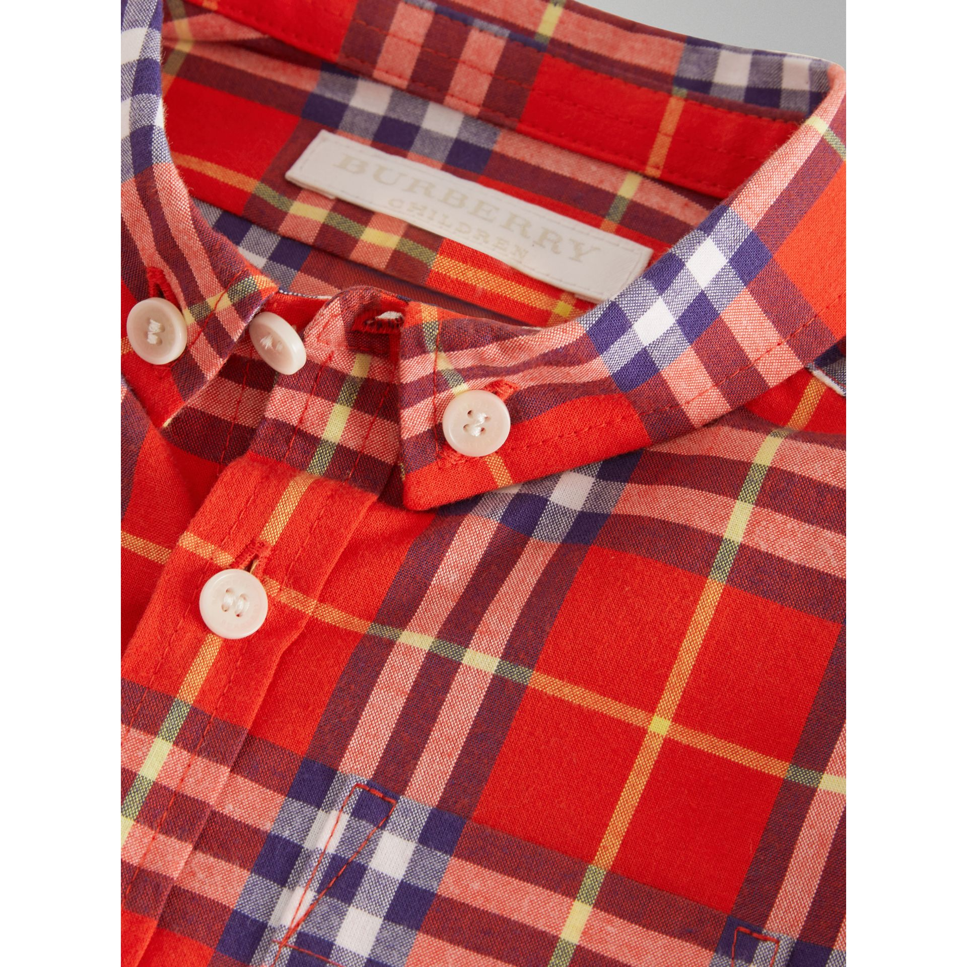 Button-down Collar Check Cotton Shirt in Orange Red - Children | Burberry - gallery image 1