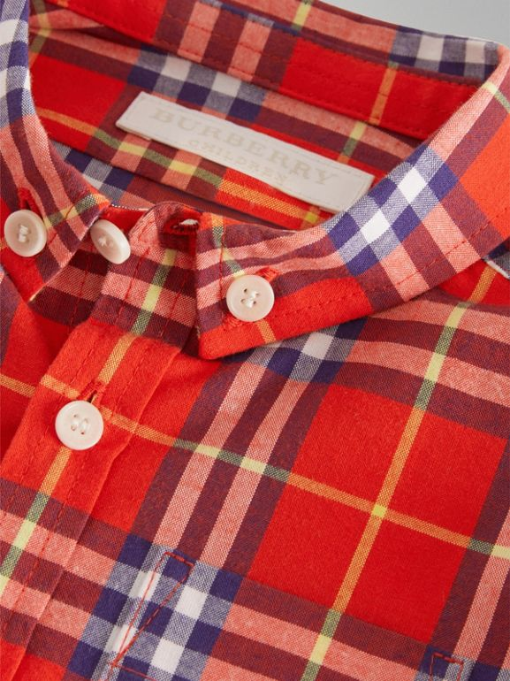 Button-down Collar Check Cotton Shirt in Orange Red - Children | Burberry Singapore - cell image 1