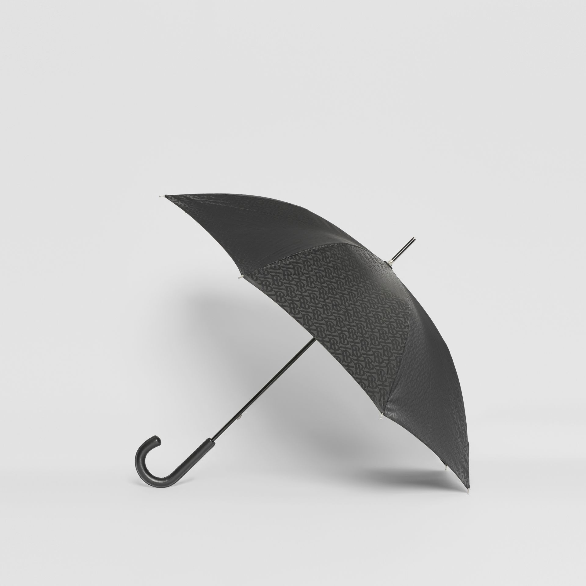 Monogram Print Umbrella in Black | Burberry United States - gallery image 3