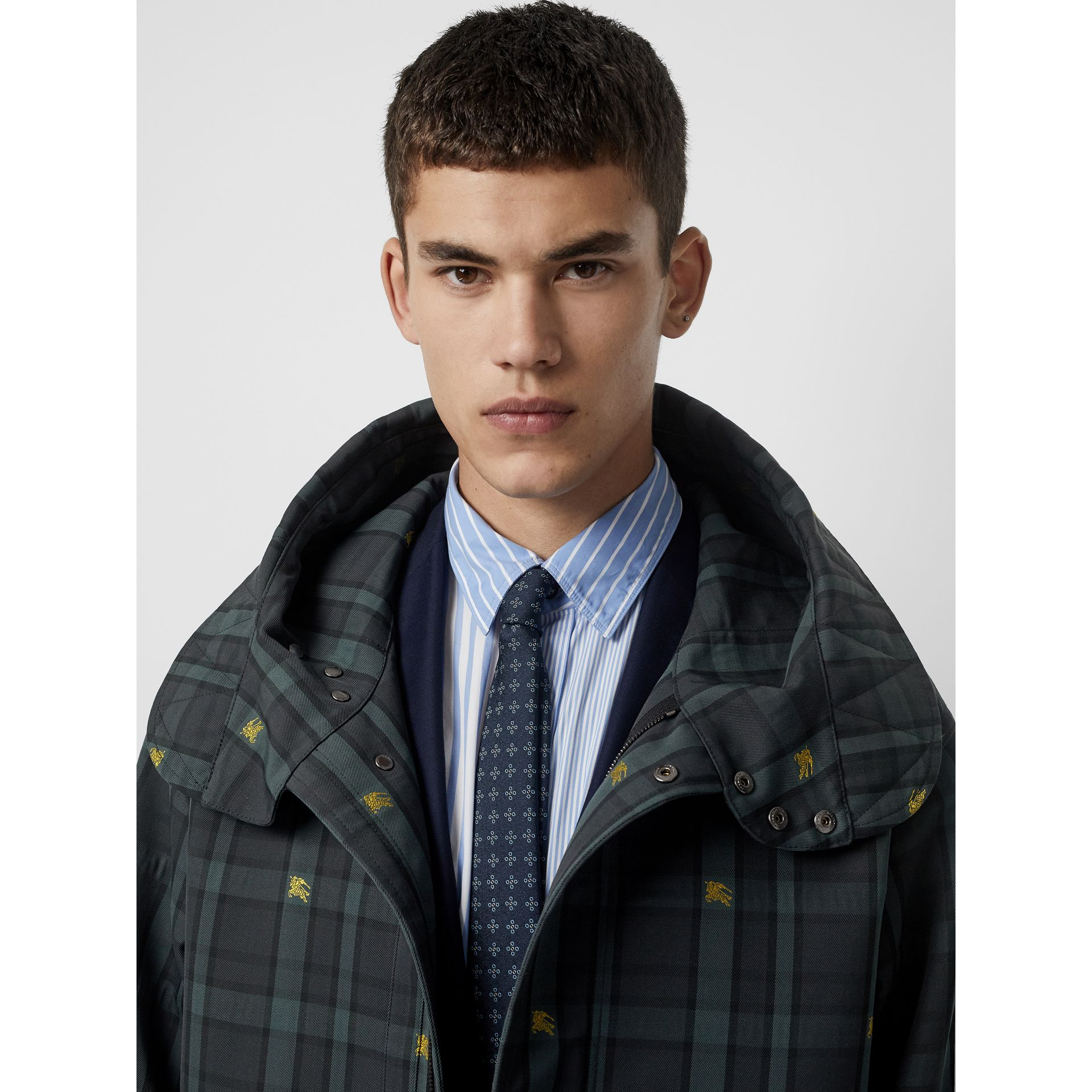 Equestrian Knight Check Nylon Hooded Jacket in Dark Cyan - Men | Burberry United Kingdom - gallery image 1