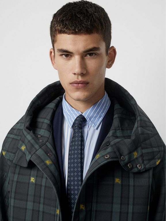 Equestrian Knight Check Nylon Hooded Jacket in Dark Cyan - Men | Burberry United Kingdom - cell image 1