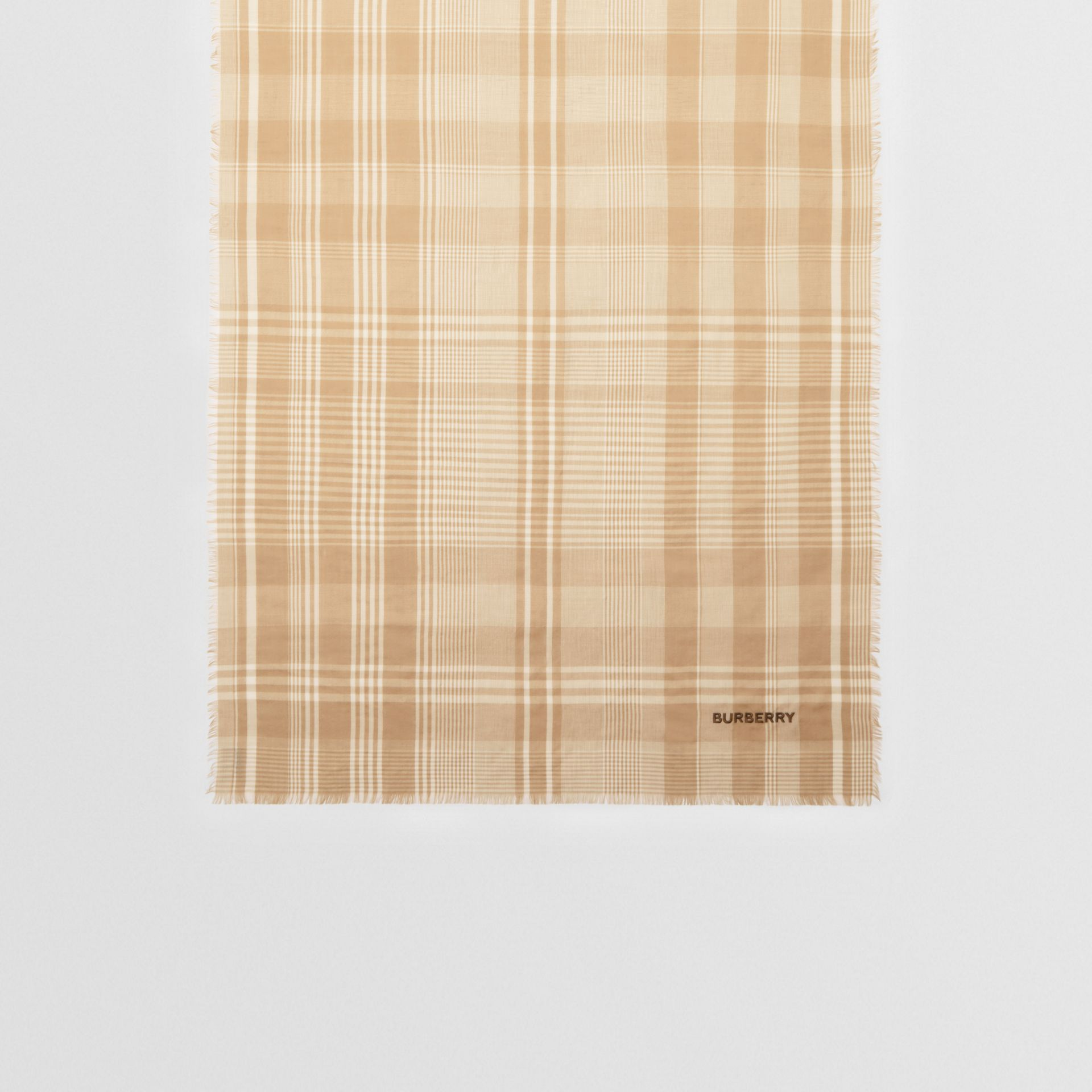 Logo Embroidered Lightweight Check Cashmere Scarf in Archive Beige/white | Burberry United Kingdom - gallery image 4