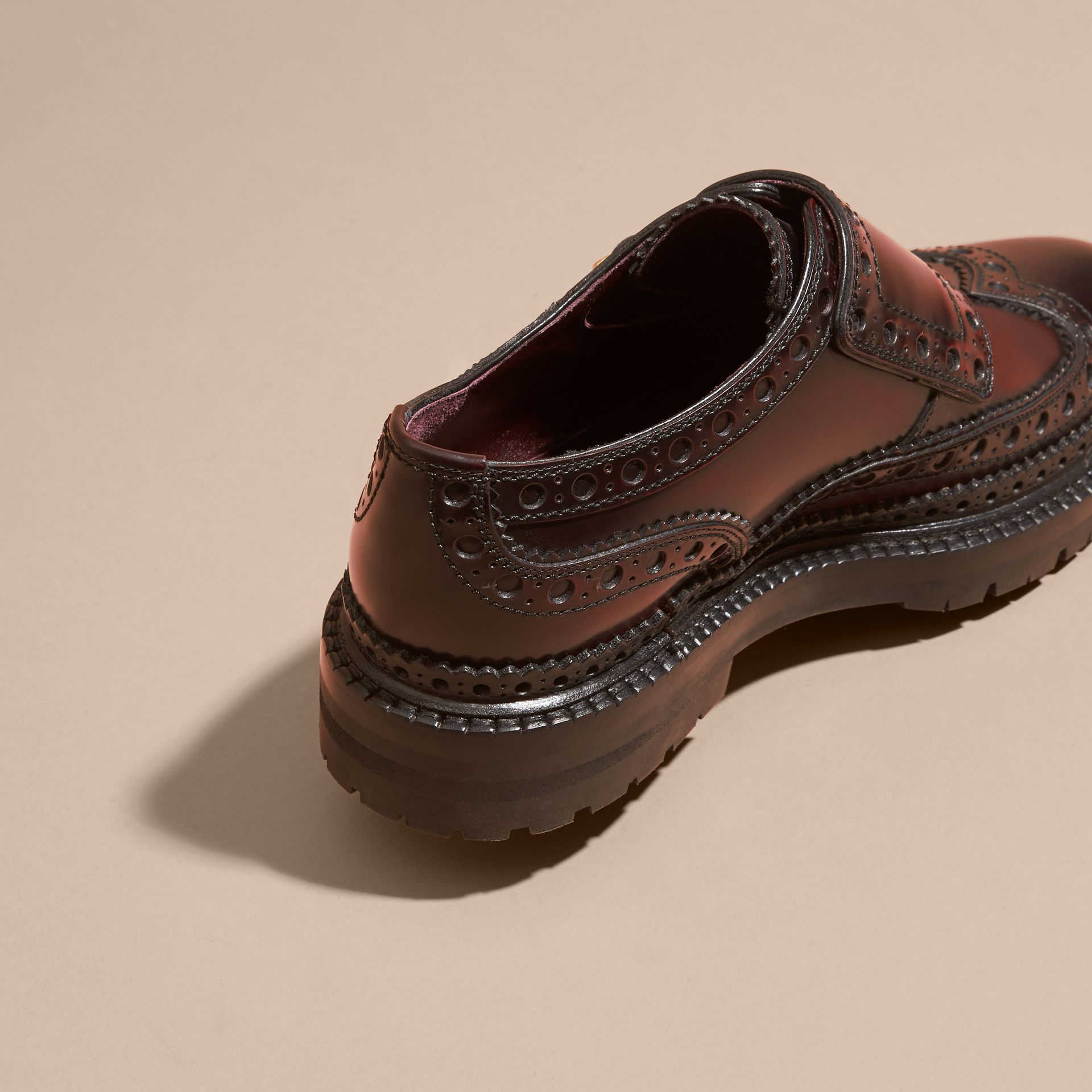 Bordeaux Leather Monk-strap Brogues - gallery image 4
