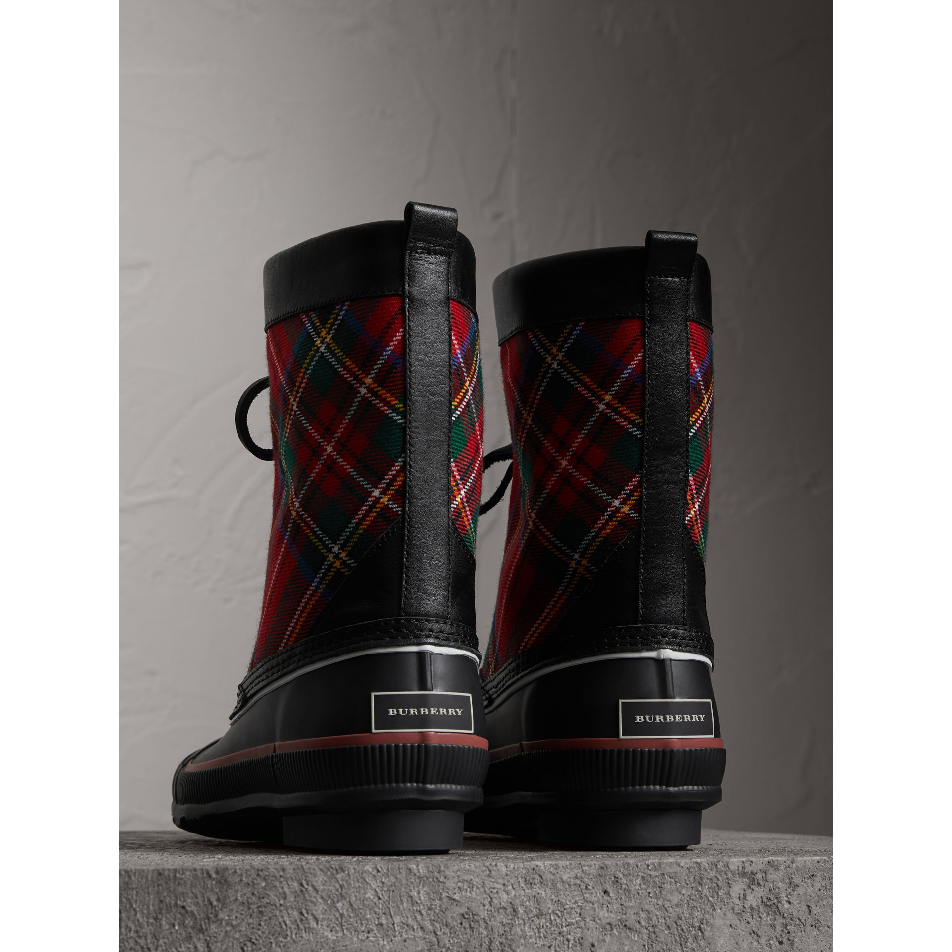 Lace-up Tartan Wool and Rubber Rain Boots in Bright Red - Women | Burberry - gallery image 2