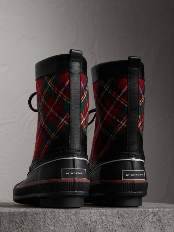 Lace-up Tartan Wool and Rubber Rain Boots in Bright Red - Women | Burberry - cell image 2