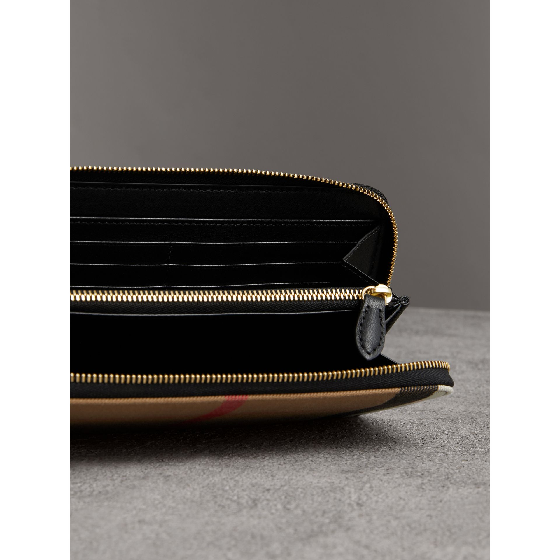 House Check and Leather Ziparound Wallet in Black - Women | Burberry - gallery image 3