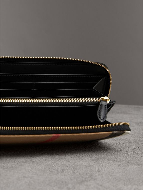 House Check and Leather Ziparound Wallet in Black - Women | Burberry Australia - cell image 3