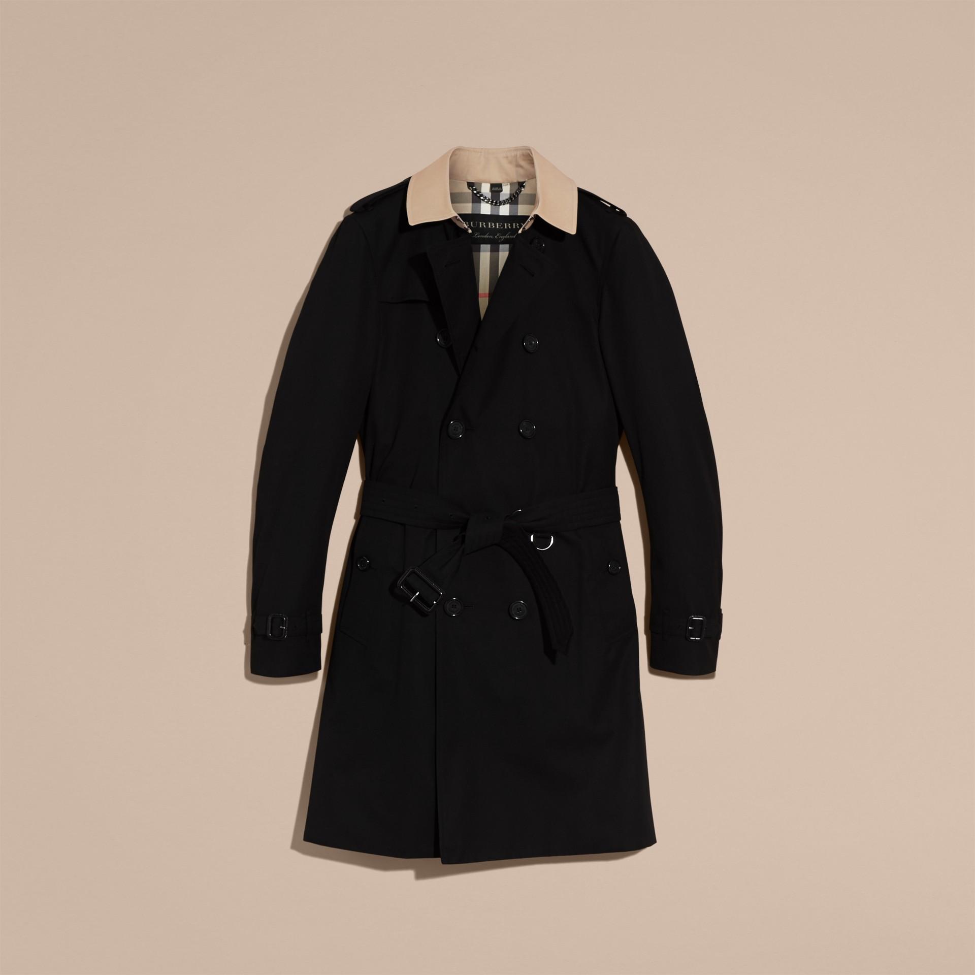 Black Contrast-collar Cotton Gabardine Trench Coat - gallery image 4