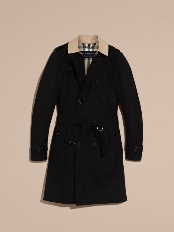 Black Contrast-collar Cotton Gabardine Trench Coat - cell image 3
