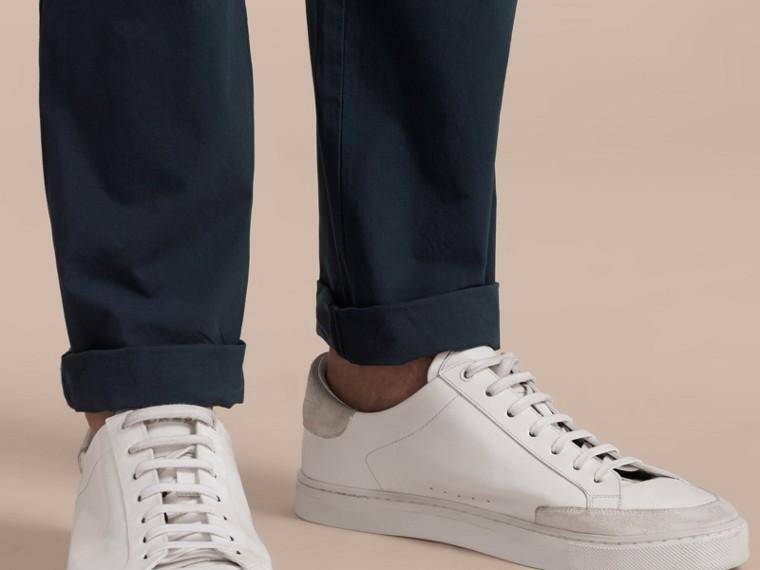 Slim Fit Cotton Poplin Chinos Indigo - cell image 4