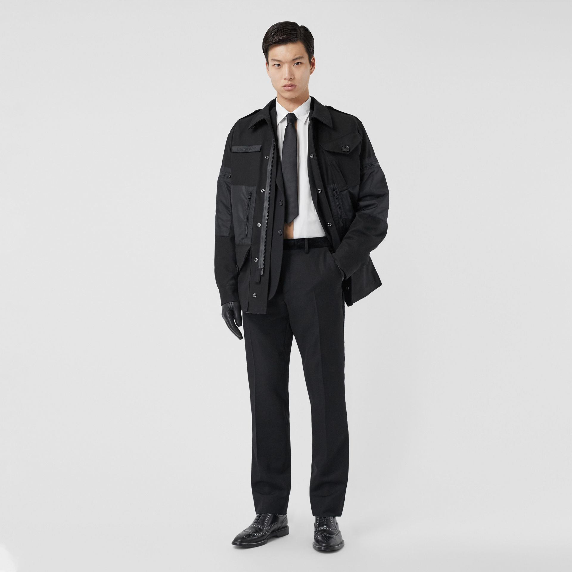 Classic Fit Velvet Trim Wool Tailored Trousers in Black - Men | Burberry - gallery image 0