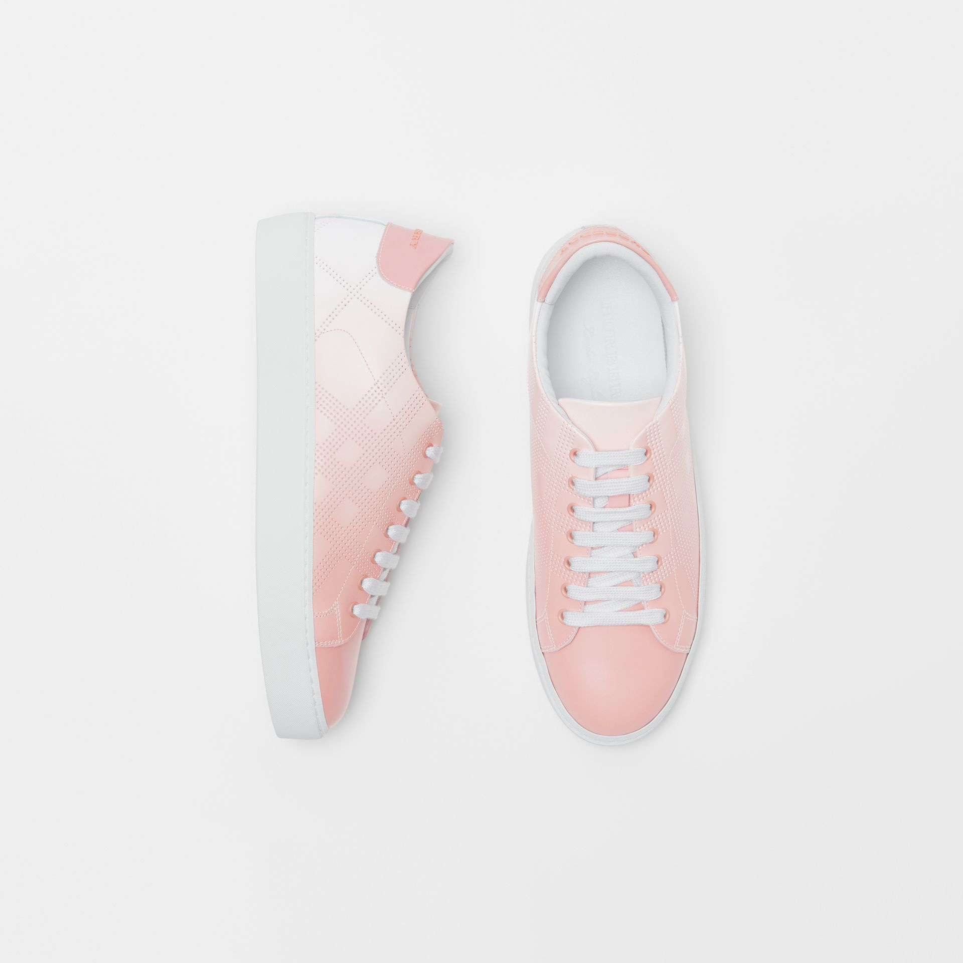 Perforated Check Dégradé Leather Sneakers in Sugar Pink - Women | Burberry United States - gallery image 0
