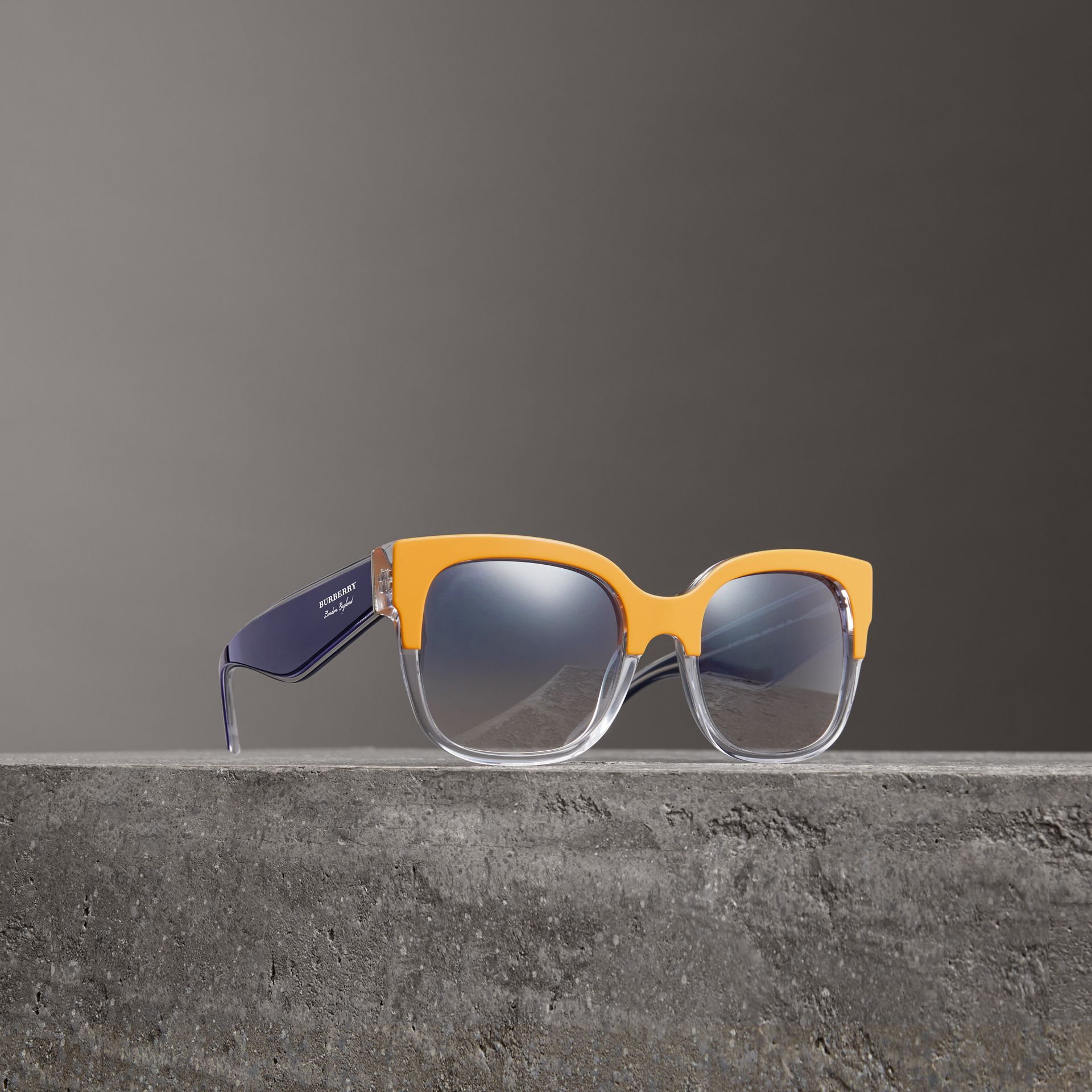 Two-tone Oversize Square Frame Sunglasses in Ochre Yellow - Women | Burberry - gallery image 0