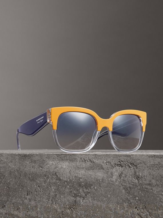 Two-tone Oversize Square Frame Sunglasses in Ochre Yellow